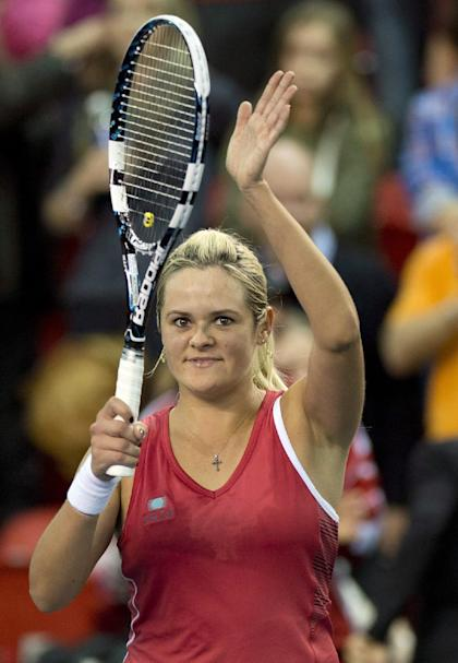 Two years ago in Quebec City against Slovakia, Wozniak pulled off a 4-6, 7-5, 7-5 win over Jana Cepelova. She may well meet her again in Bratislava this weekend. (The Canadian Press/ Jacques Boissinot)