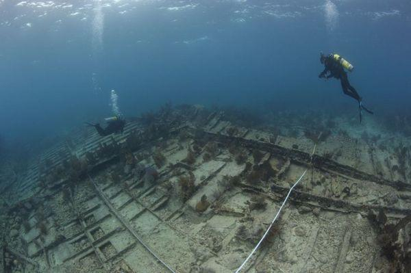 NOAA divers surveying the wreck of the Hannah M. Bell in September, 2012, off the coast of Key Largo, Fla.