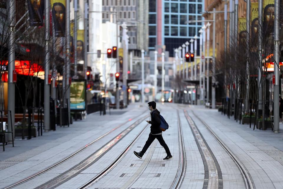 A deserted street in the central business district of Sydney, Australia.