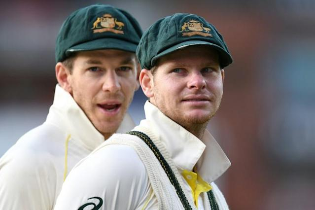 Australia captain Tim Paine (left) celebrates retaining the Ashes with former skipper Steve Smith. Calls are growing for Smith to be reappointed captain when Paine, who will be 35 in December, eventually gives up the role (AFP Photo/Oli SCARFF)
