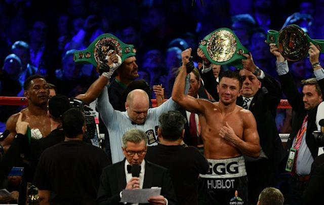 Gennady Golovkin (R) is still recovering from his bout against Daniel Jacobs on March 18. (Getty)