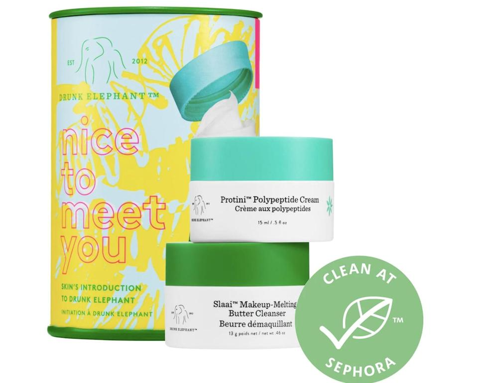 <p>Your skin will undergo a transformation for the better after just a couple uses of this <span>Drunk Elephant Nice to Meet You Cleansing Balm + Moisturizer Duo</span> ($22).</p>
