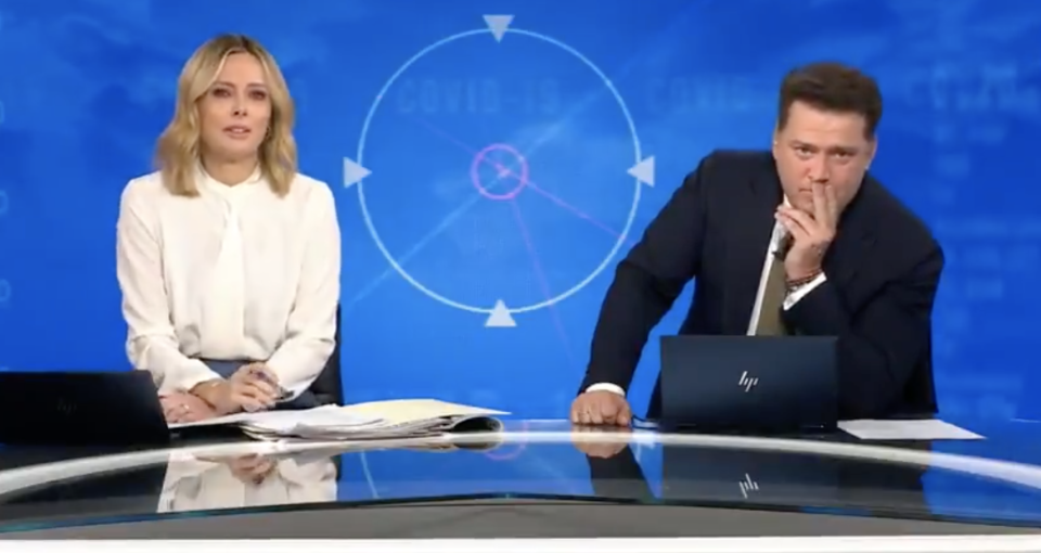 Today hosts Allison Langdon cries while co-host Karl Stefanovic expresses disbelief.