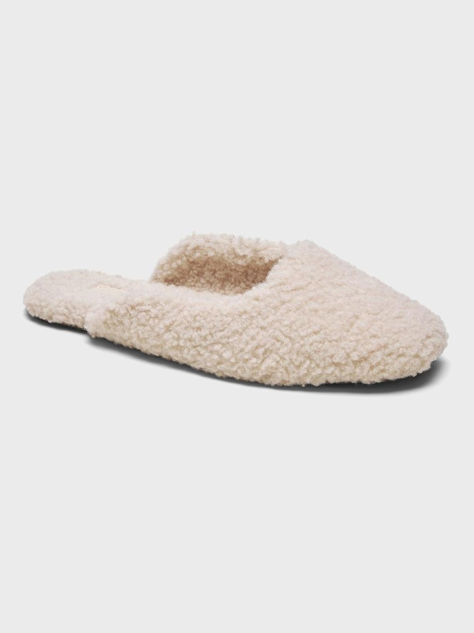 <p>And if you're running around, keep your feet feeling great in style with this <span>Banana Republic Sherpa Indoor Slipper</span> ($68).</p>