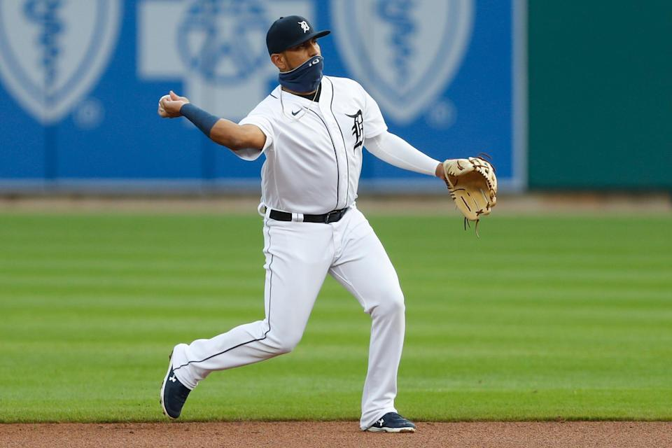 Tigers third baseman Isaac Paredes makes a throw to first base for an out during the first inning against the Cubs on Wednesday, Aug. 26, 2020, at Comerica Park.