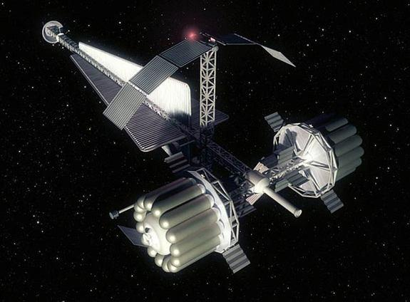 An artist's concept of a crew vehicle for NASA's Human Outer Planets Exploration (HOPE) Callisto concept mission, a five-year flight for six humans, studied in 2002. ESA researchers said such a long-duration mission could warrant the use of a h