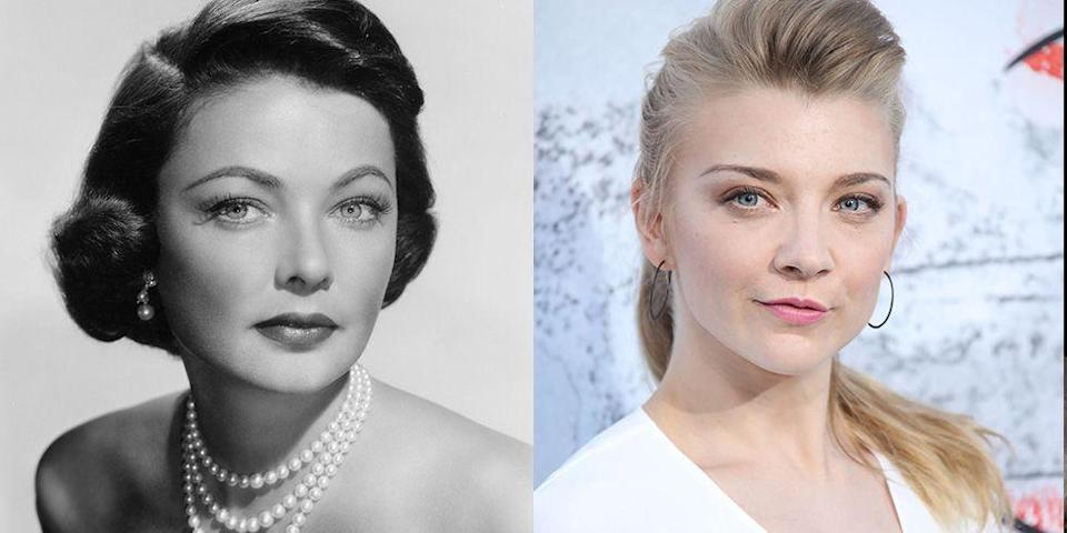 <p><em>Game of Thrones </em>actress Natalie Dormer's looks are reminiscent of Old Hollywood star Gene Tierney. The actresses both share green upturned eyes and a square-shaped face. </p>