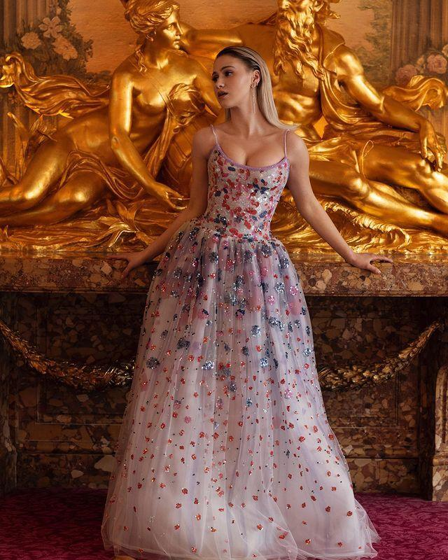 """<p>Bakalova wore a sequinned tulle gown by Armani Privé to the awards ceremony. </p><p><a href=""""https://www.instagram.com/p/CNiQpWjLnSN/"""" rel=""""nofollow noopener"""" target=""""_blank"""" data-ylk=""""slk:See the original post on Instagram"""" class=""""link rapid-noclick-resp"""">See the original post on Instagram</a></p>"""