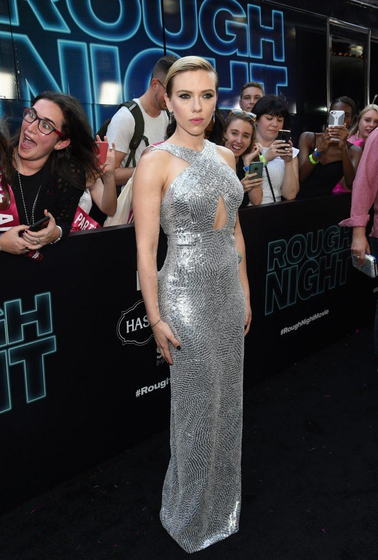 Scarlett Johansson wore a custom silver sequined gown from Michael Kors Collection. (Photo: Getty Images)