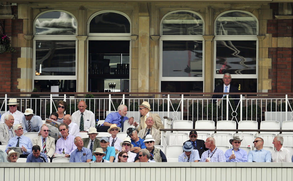 British former prime minister John Major (back R) watches from the pavilion during the third day of the fifth Ashes cricket test match between England and Australia at the Oval in London on August 23, 2013.  AFP PHOTO / GLYN KIRK  --      RESTRICTED TO EDITORIAL USE. NO ASSOCIATION WITH DIRECT COMPETITOR OF SPONSOR, PARTNER, OR SUPPLIER OF THE ECB        (Photo credit should read GLYN KIRK/AFP/Getty Images)