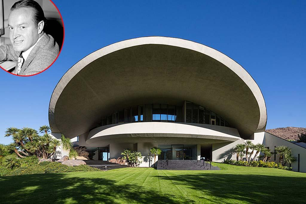 <strong>Bob and Dolores Hope's Estate</strong><br /><strong>Palm Springs California </strong><br /><strong>Asking Price: $50 Million</strong><br />The California desert resort city of Palm Springs is famous for its drool-worthy modernist architecture, but legendary actor Bob Hope's 23,000-square-foot estate has always stood out from the pack when it comes to unique aesthetic and wild design. The six-bedroom, 10-bathroom lair – designed by legendary architect John Lautner – officially hit the market for a whopping $50 million last week. The look of the home (nestled on a hillside that you can actually hike up if you're planning a visit to the area) – has been likened to a mushroom, but Lautner actually desinged the roofline to resemble a volcano. The estate features amazing views of the surrounding Coachella Valley, a boulder that juts into the living room, pool, hot tub, outdoor putting green, and a covered terrace that can seat 300 (yes 300) for dinner. Lautner first designed the house in 1973, but after the initial frame of the home was completed, it burned to the ground in a construction fire. The glass, steel, and concrete mansion was finally completed in 1980, but Hope's wife, Dolores, had reportedly made so many changes to the interior plans of the structure that Lautner distanced himself from the project. Dolores died in 2011 at age 102, while Bob had passed away eight years earlier, when he was 100.