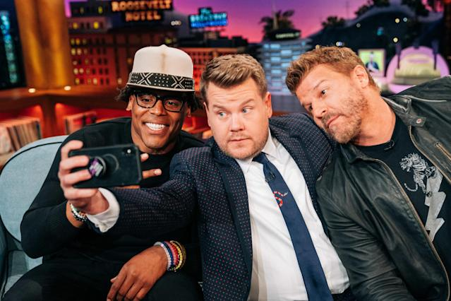 The Late Late Show with James Corden airing Wednesday, March 20, 2019, with guests Cam Newton, David Boreanaz, and music from Daddy Yankee. (Photo by Terence Patrick/CBS via Getty Images)