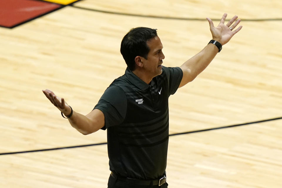 Miami Heat head coach Erik Spoelstra reacts during the second half of Game 4 of an NBA basketball first-round playoff series against the Milwaukee Bucks, Saturday, May 29, 2021, in Miami. (AP Photo/Lynne Sladky)