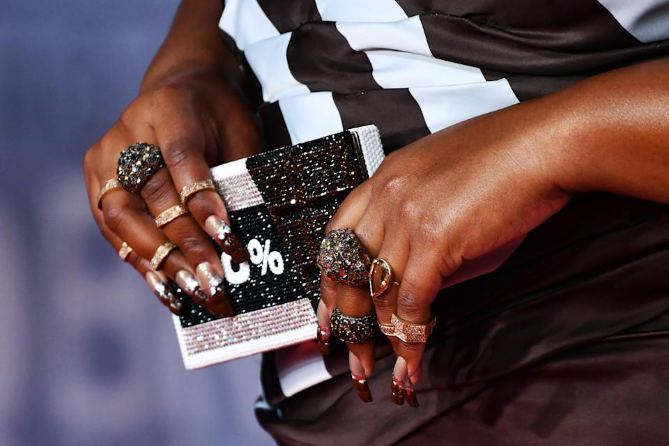 The singer's manicure was created using chocolate scented nail polish. (Getty Images)