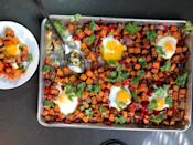 """<p>This one-pan <a href=""""https://www.thedailymeal.com/cook/hash-leftovers-breakfast-recipes?referrer=yahoo&category=beauty_food&include_utm=1&utm_medium=referral&utm_source=yahoo&utm_campaign=feed"""" rel=""""nofollow noopener"""" target=""""_blank"""" data-ylk=""""slk:sweet potato hash"""" class=""""link rapid-noclick-resp"""">sweet potato hash</a> is great when you're craving brinner. Since everything is cooked on a single sheet pan, you don't have to worry about cleaning up a pile of dishes after eating.</p> <p><a href=""""https://www.thedailymeal.com/one-pan-sweet-potato-hash?referrer=yahoo&category=beauty_food&include_utm=1&utm_medium=referral&utm_source=yahoo&utm_campaign=feed"""" rel=""""nofollow noopener"""" target=""""_blank"""" data-ylk=""""slk:For the One-Pan Sweet Potato and Egg Hash recipe, click here."""" class=""""link rapid-noclick-resp"""">For the One-Pan Sweet Potato and Egg Hash recipe, click here.</a></p>"""