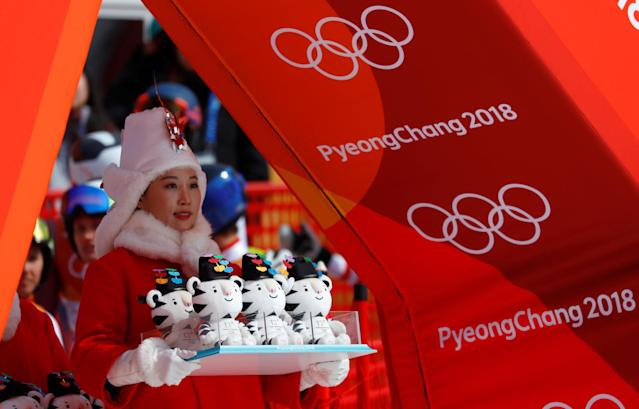 Alpine Skiing - Pyeongchang 2018 Winter Olympics - Team Event - Yongpyong Alpine Centre - Pyeongchang, South Korea - February 24, 2018 - Mascots are pictured before the victory ceremony. REUTERS/Leonhard Foeger TPX IMAGES OF THE DAY