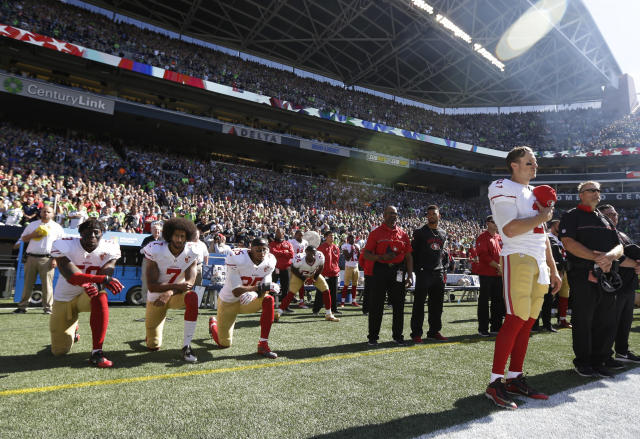 Colin Kaepernick (7) touched off a movement of social protest against racial inequality last season in the NFL. (AP)