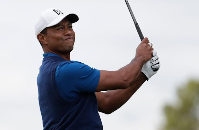 Tiger Woods tees off on the tenth hole during the first round of the PGA Championship golf tournament, Thursday, May 16, 2019, at Bethpage Black in Farmingdale, N.Y. (AP)