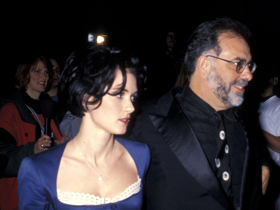 """Actress Winona Ryder and director Francis Ford Coppola attend the """"Dracula"""" Hollywood Premiere on November 10, 1992 at Mann's Chinese Theatre in Hollywood, California. (Photo by Ron Galella, Ltd./Ron Galella Collection via Getty Images)"""