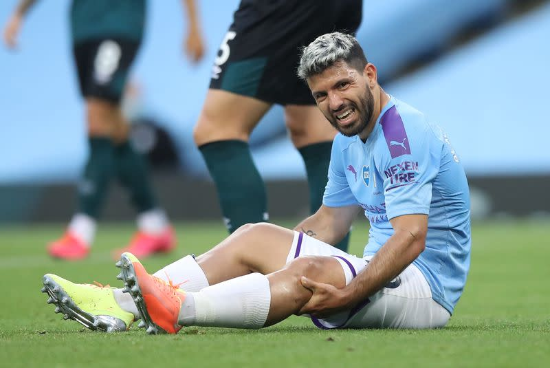 Man City's injured Aguero to fly to Barcelona to see specialist
