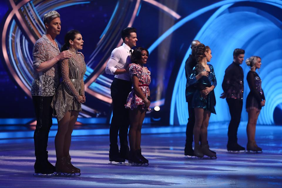 Faye Brookes, Matt Evers, Lady Leshurr, Brendyn Hatfield, Colin Jackson, Klabera Komini, Sonny Jay and Angela Egan during the skate off announcement 'Dancing On Ice'. (ITV)