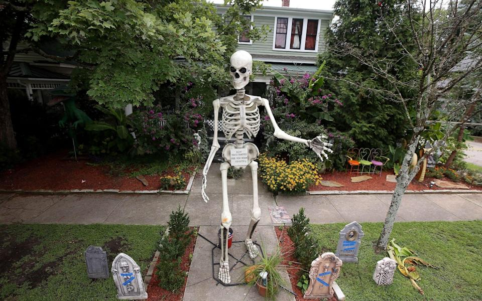 A 13-foot skeleton telling people to vaccinate or die along with mocking tombstones are on display at the home of Jesse Jones in North Carolina, US, - Bob Karp/Zuma Press / eyevine