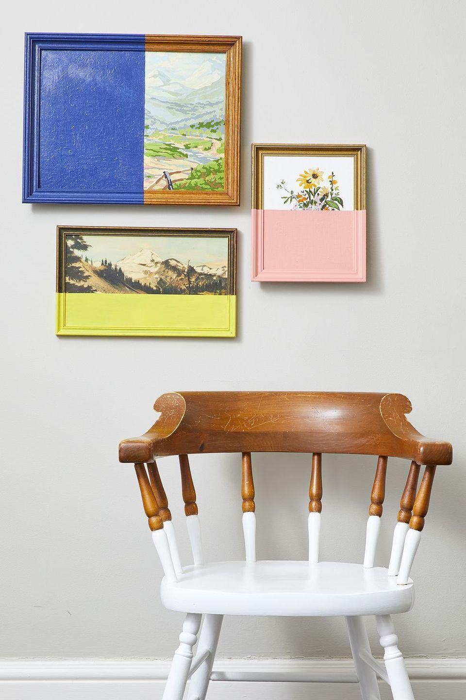 """<p>Go halfsies on paint in a variety of coordinating paint colors to turn garage-sale art into a bold colorblock display. </p><p><strong>RELATED: </strong><a href=""""https://www.goodhousekeeping.com/home/craft-ideas/how-to/g139/genius-upcycling-ideas/"""" rel=""""nofollow noopener"""" target=""""_blank"""" data-ylk=""""slk:Easy Trash-to-Treasure Crafts"""" class=""""link rapid-noclick-resp"""">Easy Trash-to-Treasure Crafts </a></p>"""
