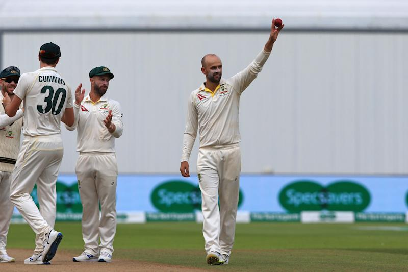 Australia's Nathan Lyon took six wickets as Australia demolished England (Photo credit should read LINDSEY PARNABY/AFP/Getty Images)