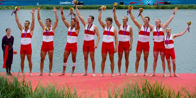 Canada's men's eight rowing team members Gabriel Bergen, left to right Douglas Csima, Rob Gibson, Conlin McCabe, Malcolm Howard, Andrew Byrnes, Jeremiah Brown, Will Crothers, and cox Brian Price celebrate their silver medal at Eton Dorney during the 2012 Summer Olympics in Dorney, England on Wednesday, August 1, 2012. THE CANADIAN PRESS/Sean Kilpatrick
