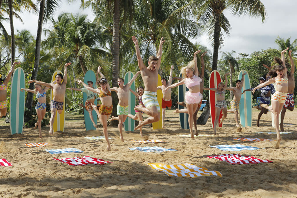 "Kent Boyd, Garrett Clayton, and Mollee Gray in ""Teen Beach Movie"" on Disney Channel."
