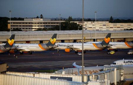Grounded airplanes with the Thomas Cook livery are seen at Manchester Airport