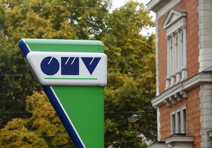 The logo of Austrian oil and gas group OMV is pictured at a gas station in Vienna