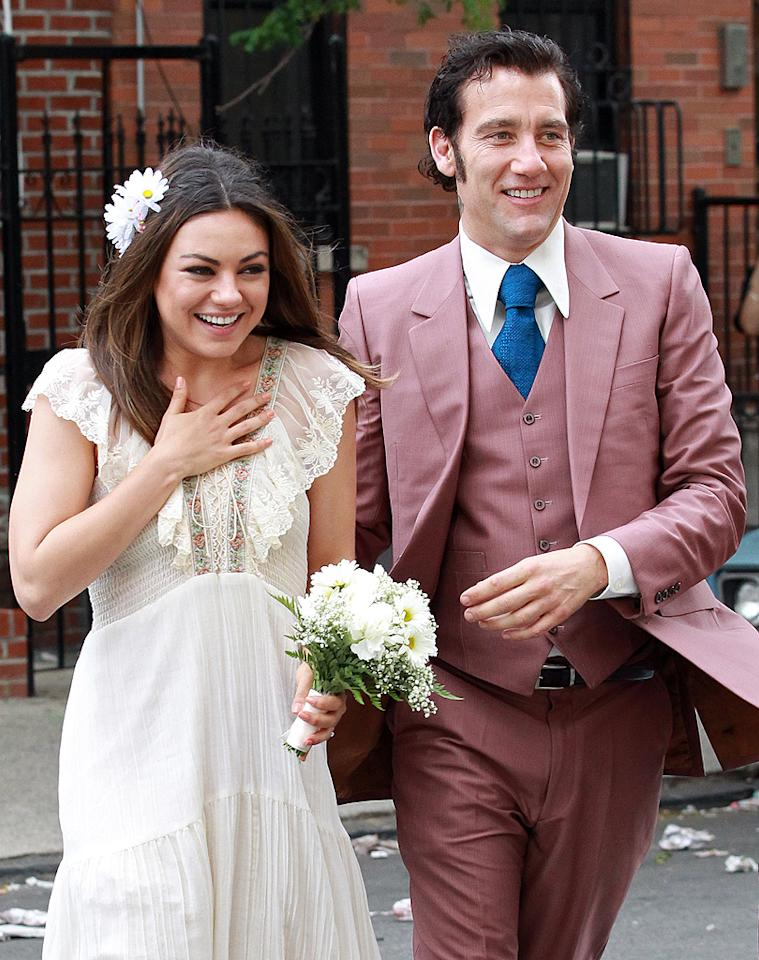 """That '70s Show"" star Mila Kunis looked like she took a trip back to her  favorite decade on Monday when she shot a wedding scene with Clive Owen  at St. Barbara Roman Catholic Church in Brooklyn for their new movie,  ""Blood Ties,"" a film about a New York mobster who must face off against his cop brother. (5/14/2012)"