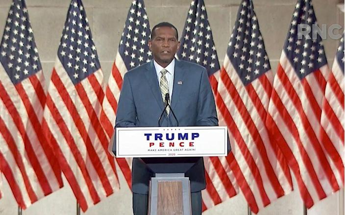 In this screenshot from the RNC's livestream of the 2020 Republican National Convention, former NFL athlete and Utah congressional nominee Burgess Owens addresses the virtual convention on August 26, 2020. The convention is being held virtually due to the coronavirus pandemic but will include speeches from various locations including Charlotte, North Carolina and Washington, DC. (Photo Courtesy of the Committee on Arrangements for the 2020 Republican National Committee via Getty Images)