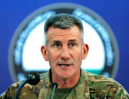 U.S. Army General John Nicholson, Commander of Resolute Support forces and U.S. forces in Afghanistan, speaks during a news conference in Kabul, Afghanistan