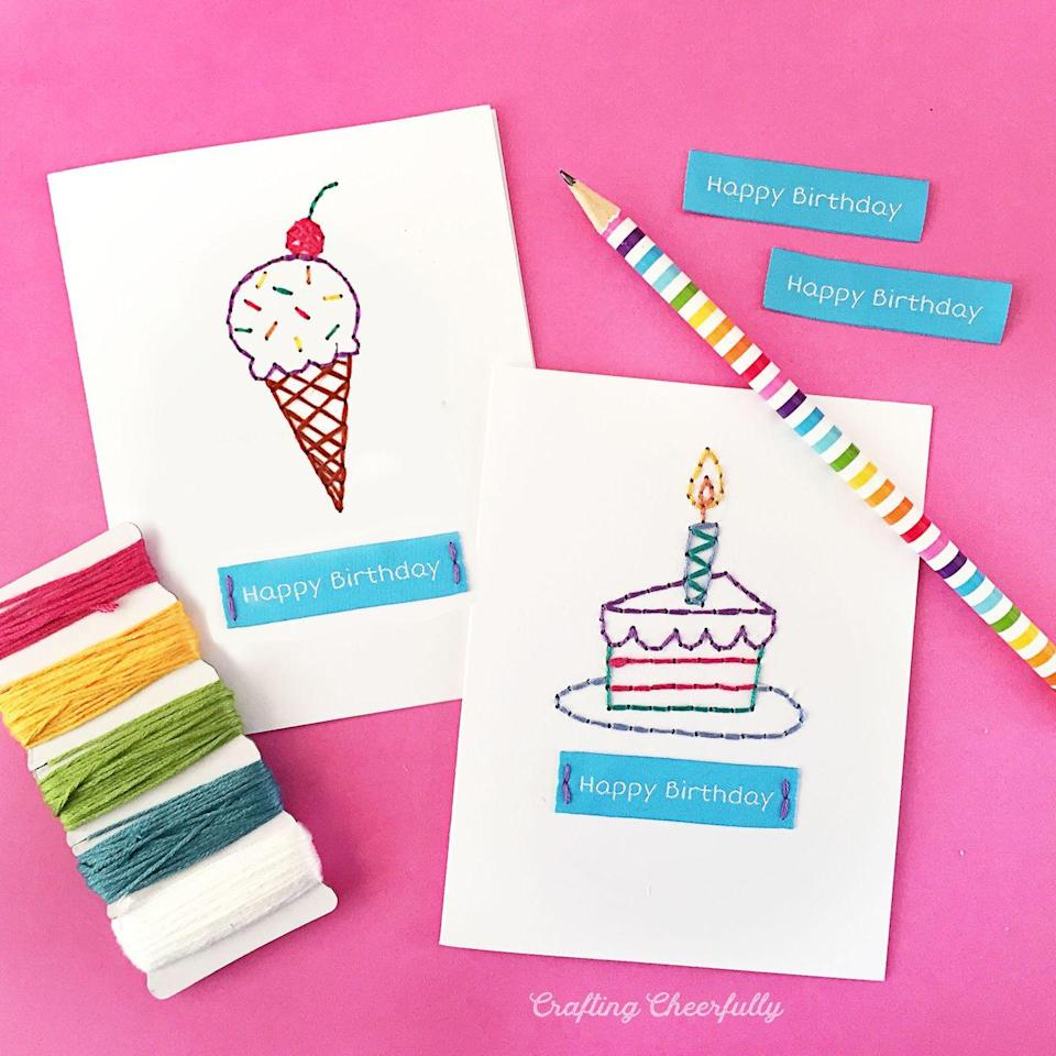 """<p>""""I don't sew,"""" you're saying. """"Not a problem,"""" we're saying. You can still pull off these cards! <strong><br></strong></p><p><strong>Get the tutorial at <a href=""""https://www.craftingcheerfully.com/diy-embroidered-cards/"""" rel=""""nofollow noopener"""" target=""""_blank"""" data-ylk=""""slk:Crafting Cheerfully"""" class=""""link rapid-noclick-resp"""">Crafting Cheerfully</a>.</strong></p>"""