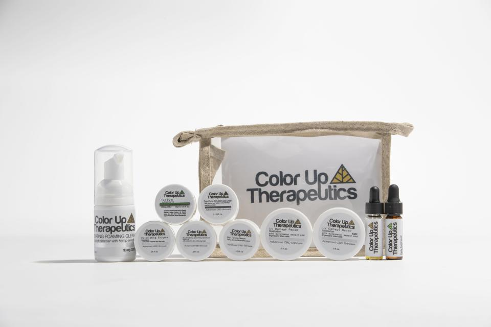 <p>For the mom who loves to experiment with skincare products, this travel kit boasts 10 anti-inflammatory CBD-packed products (cleanser, serum, moisturizers, eye cream, treatment oil, an exfoliating masque, an illuminating masque, a salve, and a sublingual tincture) in a hemp bag for $40 on ColorUpTherapeutics.com.</p>