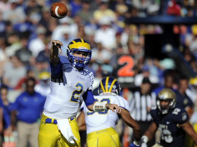 Delaware quarterback Trent Hurley (2) throws a pass against Navy during the first half of an NCAA college football game, Saturday, Sept. 14, 2013, in Annapolis, Md. (AP Photo/Nick Wass)