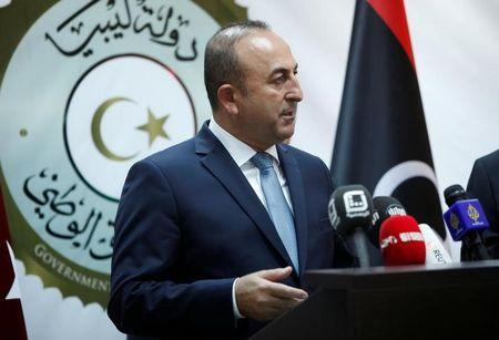 Turkey's Foreign Minister Mevlut Cavusoglu speaks during a joint news conference with Mohammed Siyala, foreign minister in Libya's new U.N.-backed national unity government, in Tripoli, Libya, May 30, 2016. REUTERS/Ismail Zitouny/Files
