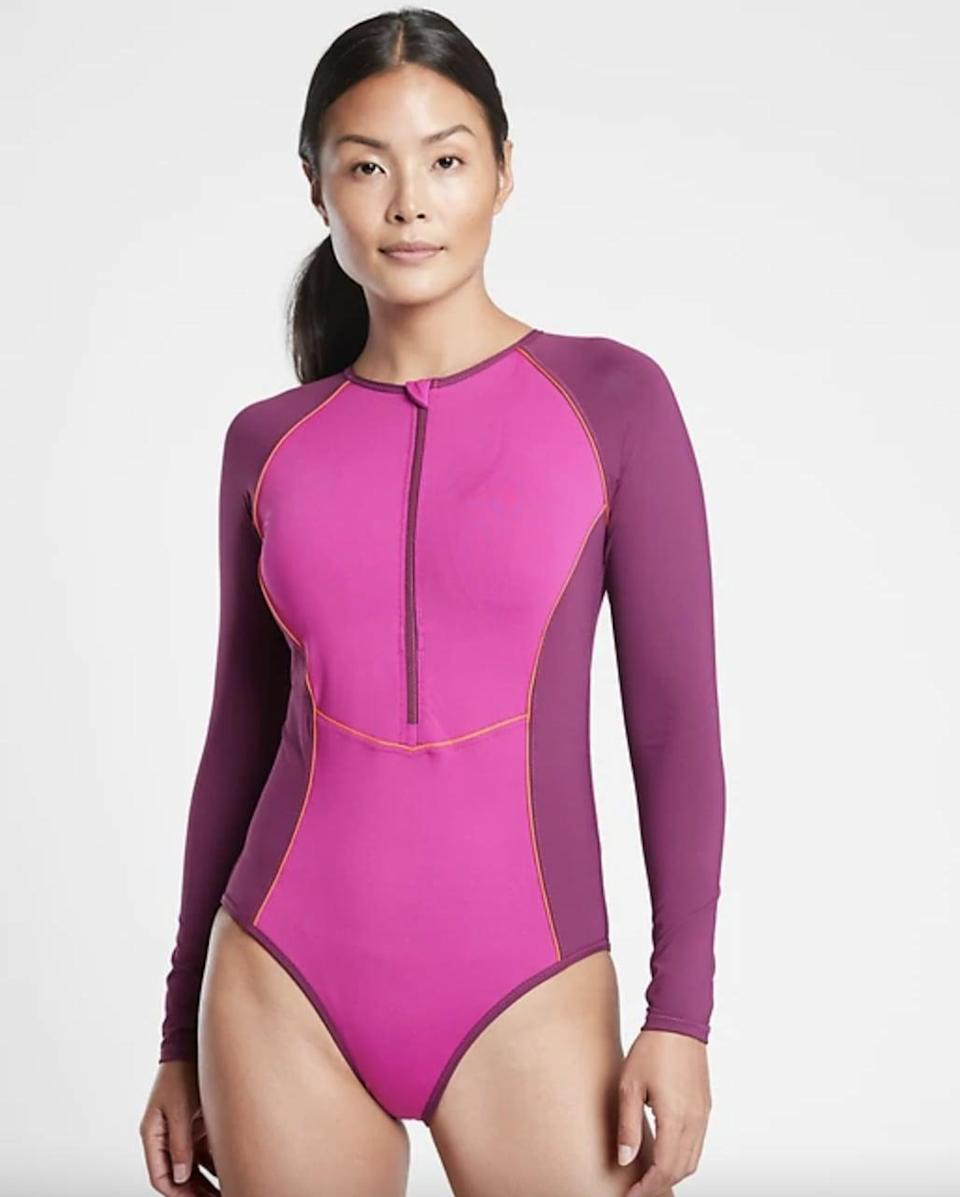 <p>Stay warm while surfing in this <span>Colorblock Long Sleeve One Piece Swimsuit</span> ($128). </p>