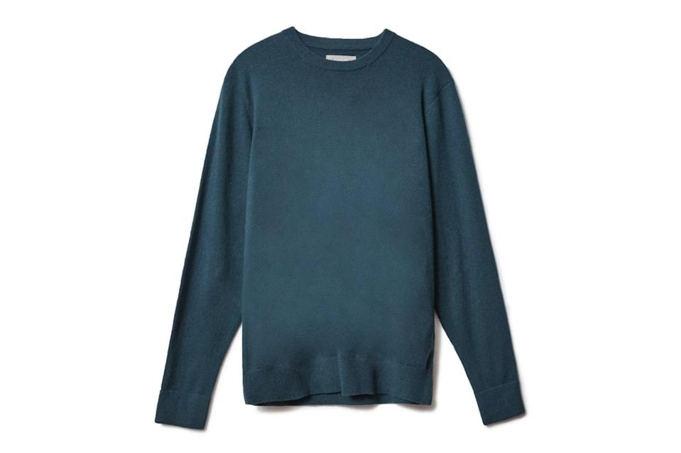 """A cashmere knit in a strong solid color will class up any pair of pants in your closet. Everlane's right-now cuts and wallet-friendly prices are particularly hard to resist.<br> <br> <em>Everlane Grade-A cashmere crew</em> $130, Everlane. <a href=""""https://www.everlane.com/products/mens-cashmere-crew-winter-teal?collection=mens-sweaters"""" rel=""""nofollow noopener"""" target=""""_blank"""" data-ylk=""""slk:Get it now!"""" class=""""link rapid-noclick-resp"""">Get it now!</a>"""