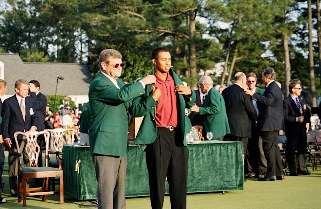 When Tiger Woods won the 2002 Masters, he held all four major championships. But he did not win them in the same calendar year. (Getty)