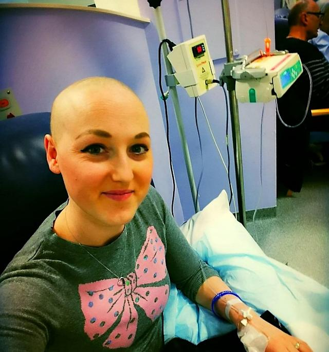 Sarah in hospital undergoing breast cancer treatment. [Photo: SWNS]