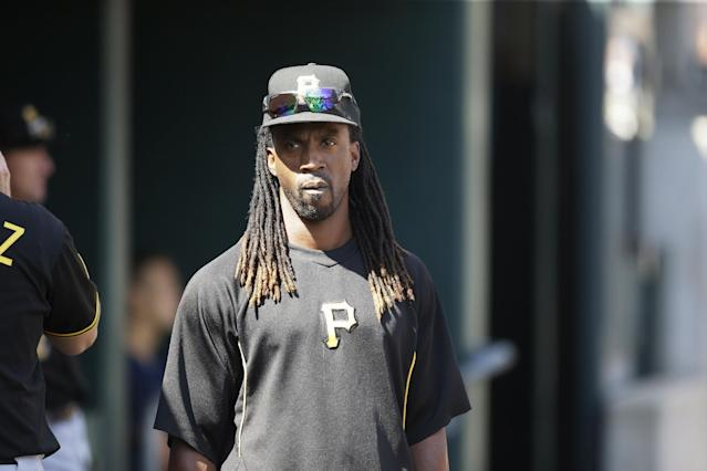 Pittsburgh Pirates outfielder Andrew McCutchen is seen in the dugout during the eighth inning of an interleague baseball game against the Detroit Tigers, Thursday, Aug. 14, 2014 in Detroit. (AP Photo/Carlos Osorio)