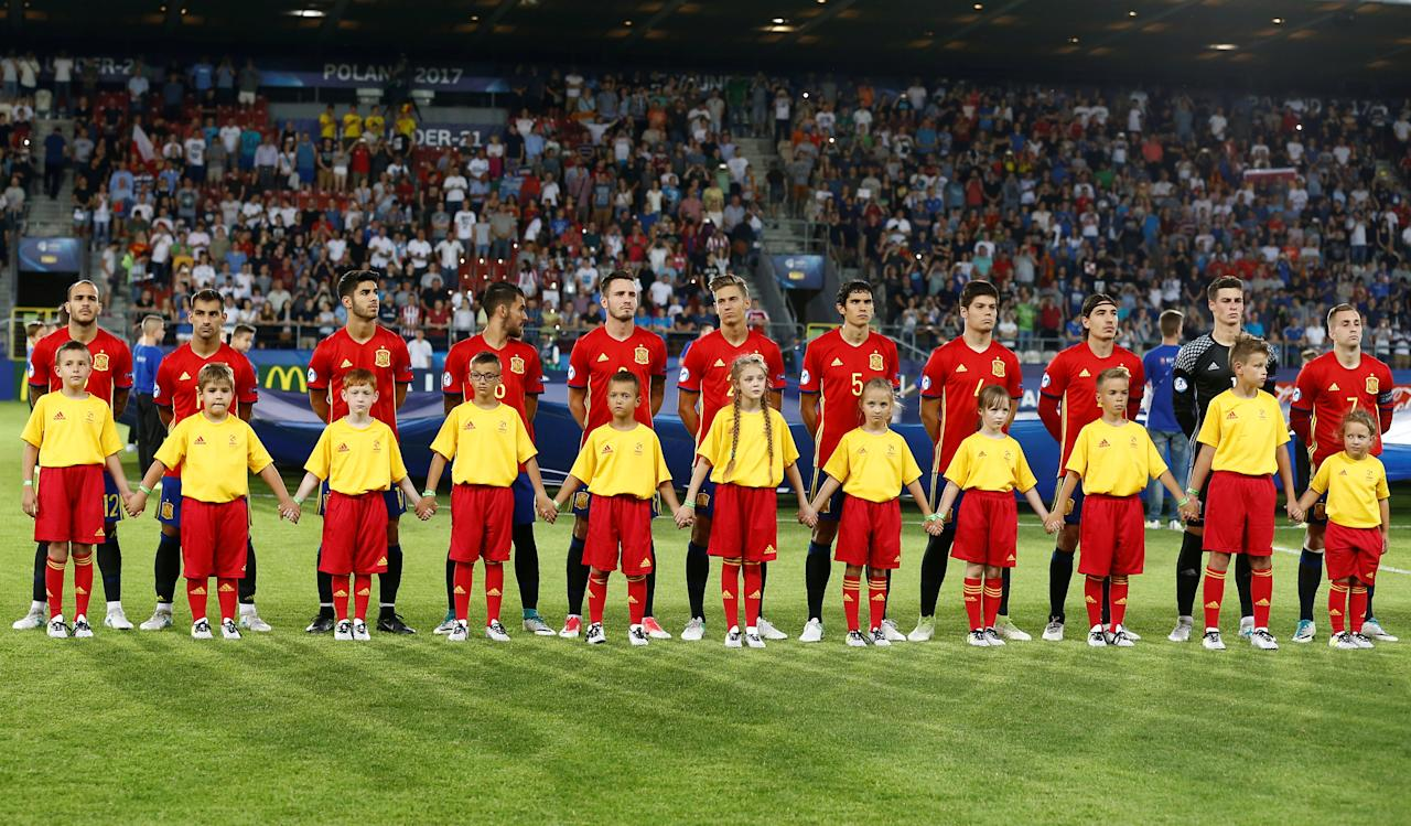 Soccer Football - Spain v Italy - UEFA Euro U21 Championships Semifinals - Cracovia Stadium, Krakow, Poland - 27 June, 2017. Spain's team before the match. REUTERS/Kacper Pempel
