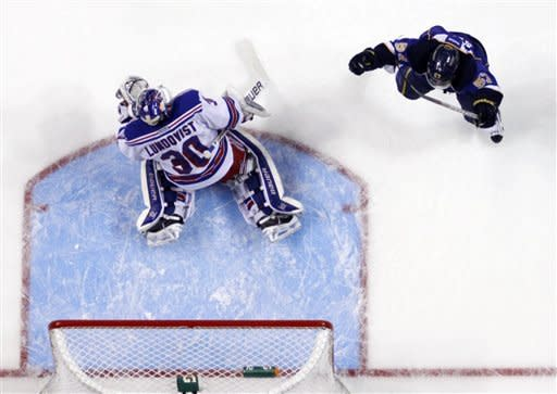 St. Louis Blues' David Perron, right, celebrates after scoring past New York Rangers goalie Henrik Lundqvist, of Sweden, during the first period of an NHL hockey game Thursday, Dec. 15, 2011, in St. Louis. (AP Photo/Jeff Roberson)