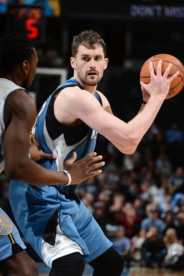 DENVER, CO - MARCH 3: Kevin Love #42 of the Minnesota Timberwolves during a game against the Denver Nuggets on March 3, 2014 at the Pepsi Center in Denver, Colorado. (Photo by Garrett W. Ellwood/NBAE via Getty Images)