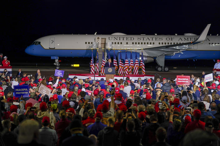 President Donald Trump speaks at a campaign rally at the Central Wisconsin Airport Thursday, Sept. 17, 2020, in Mosinee, Wis.