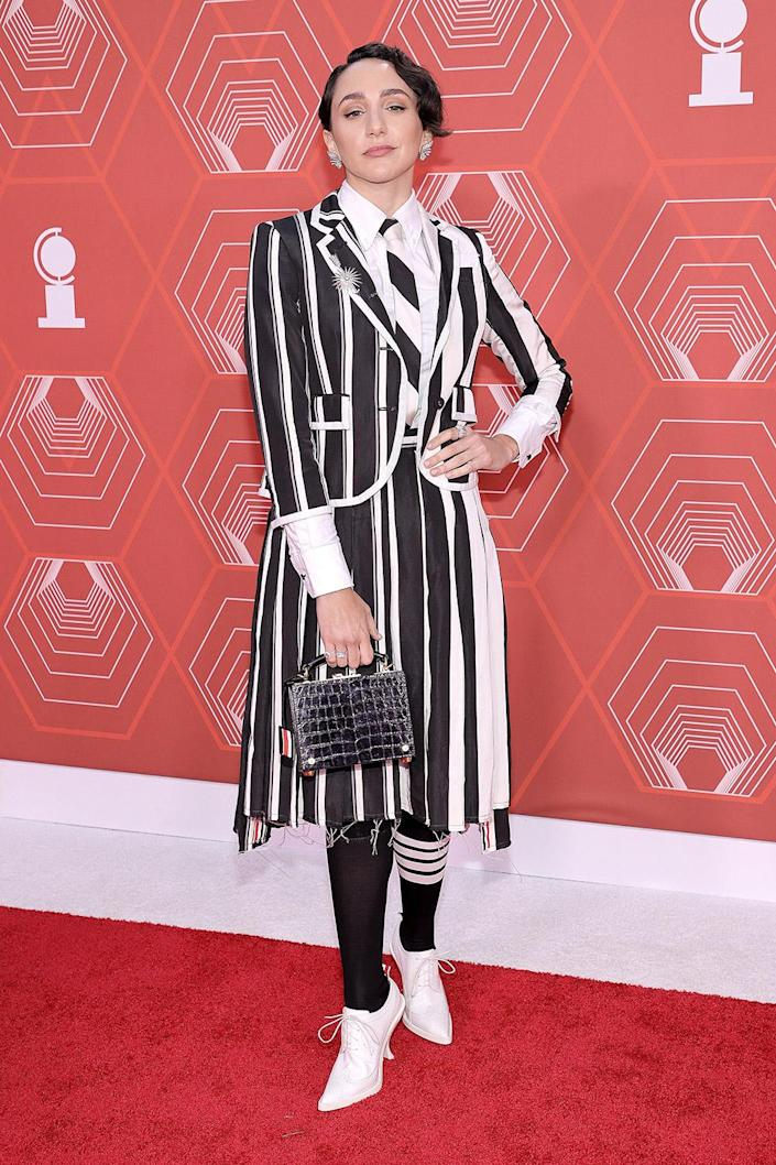 <p>Lauren Patton chose bold stripes for the red carpet. The actress is nominated for best featured actress in a musical for <em>Jagged Little Pill. </em></p>