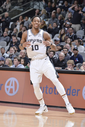 SAN ANTONIO, TX - JANUARY 3: DeMar DeRozan #10 of the San Antonio Spurs smiles against the Toronto Raptors on January 3, 2019 at the AT&T Center in San Antonio, Texas